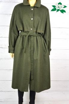 Wełniany zielony płaszcz