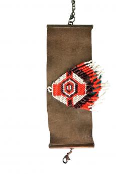 Zamszowa skórzana bransoletka boho w stylu afrykańskim
