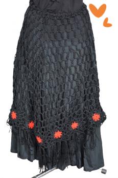 Unikatowa szydełkowa spódnica boho z frędzlami