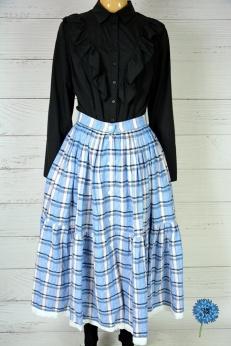 Piękna rozkloszowana spódnica w stylu lat 50 baby blue w kratkę S/M