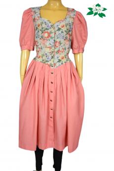 Zjawiskowa sukienka vintage w kwiaty z bufiastymi rękawami M/L