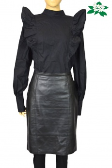Madeleine prosta czarna skórzana spódnica midi L