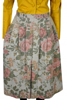 Wełniana rozkloszowana spódnica midi w stylu boho vintage L/XL