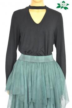 Even&Odd czarna elegancka bluzka z al'a chokerem L
