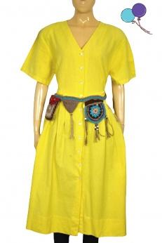 Colours of the world sukienka koszulowa midi w style vintage z bawełny i lnu L XL