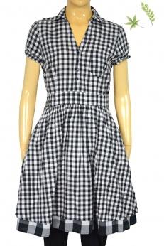 Rozkloszowana sukienka w kratkę w stylu lat 50 60 S M