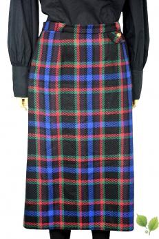 Wełniana spódnica midi vintage w kratkę L XL