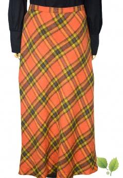 Bianca ciepła długa spódnica w kratę z dodatkiem wełny L