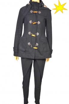 Only wełniany płaszcz budrysówka z kapturem zapinany na kołki S