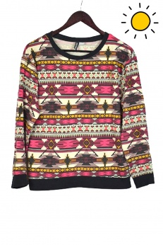 H&M Świetna Bawełniana Bluza boho azteckie wzory S M