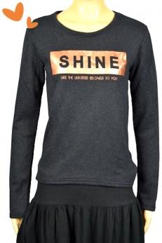 Świetna Bluza Bluzka z metalicznym napisem Shine S M
