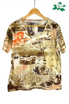 T-shirt w fajne architektoniczne nadruki napisy kwiaty L XL