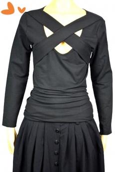 Świetna czarna bluzka z przecinającymi się pasami, strapsami przy dekolcie M