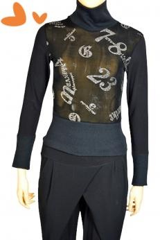 Miel Paris czarny dopasowany golf bluzka w srebrne napisy i cyfry S