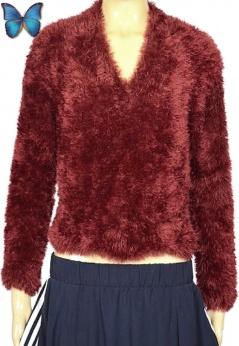 Krótki włochaty sweter vintage S