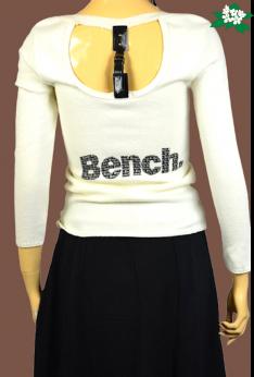 Buble Paris unikatowy sweter z napisem Bench z paskiem na plecach
