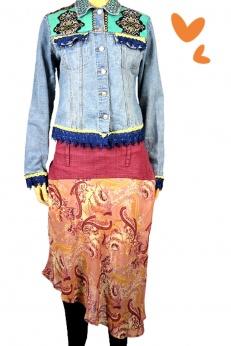 Asymetryczna spódnica z dodatkiem jeansu boho gypsy M/L