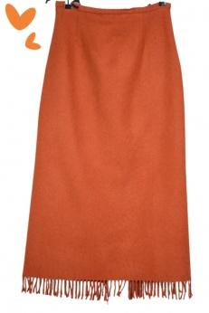 Unikatowa długa wełniana spódnica boho z frędzlami M