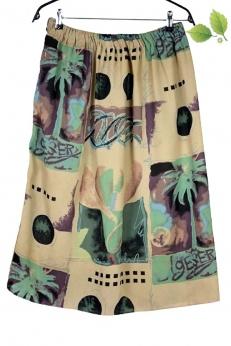 Spódnica midi vintage w palmy i księżyc oversize M L XL