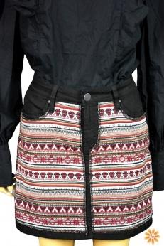 Krótka jeansowa spódnica boho w azteckie wzory L