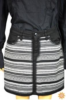 Jeansowa spódnica boho w azteckie wzory L