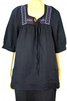 Zara luźna lniana bluzka z haftami S