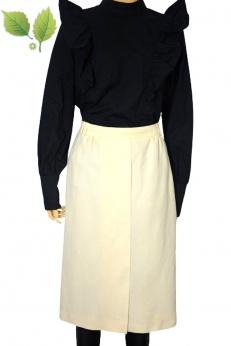 Kremowa spódnica vintage z czystej wełny S M