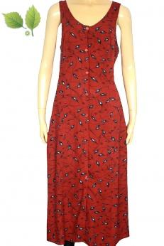 Cudna długa sukienka koszulowa vintage w listki M