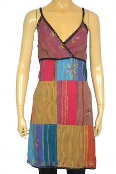 Patchworkowa kolorowa sukienka boho hippie S
