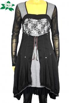 Artystyczna francuska patchworkowa sukienka S M