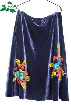 Aksamitna haftowana spódnica midi XL XXL