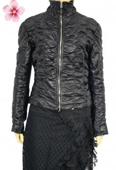 Włoska czarna kurtka skórzana M
