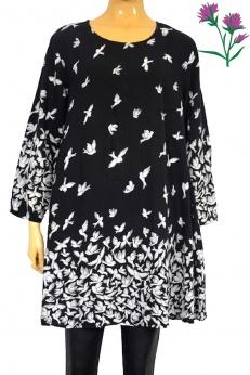 Wiskozowa sukienka midi w ptaki M L