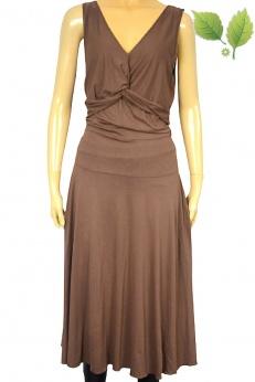 Rozkloszowana sukienka midi w kolorze kawy z mlekiem M L