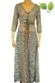 Długa Sukienka narzutka hippie vintage z lat 70 S M