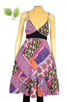 Bawełniana rozkloszowana sukienka boho w mandale ornamenty M