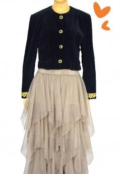Włoski welurowy zdobiony żakiet kurteczka vintage z lat 90 M