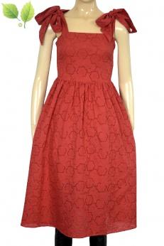 Czerwona rozkloszowana sukienka midi z wiązanymi ramiączkami XS S