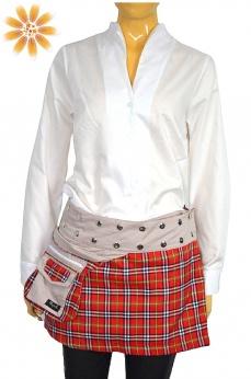 Krótka dwustronna spódnica w kratkę z saszetką S M L