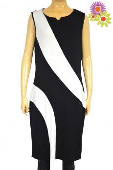 Elegancka prosta biurowa sukienka w skośne pasy M L