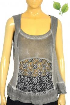 Dekatyzowana bluzka top z koronką i falbanką L