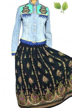 Długa zdobiona spódnica boho cygańska rayon S M L
