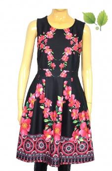 Rozkloszowana sukienki lekko piankowa w kwiaty S