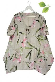 Cudna lniana asymetryczna sukienka tunika oversize