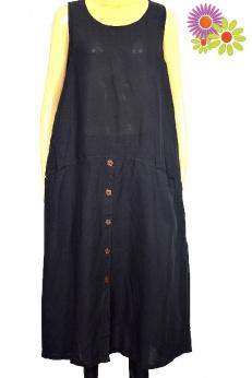 Długa luźna czarna lniana sukienka z kieszeniami M L