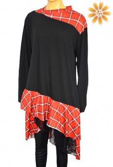 Artystyczna sukienka midi z falbankami i koronką M L