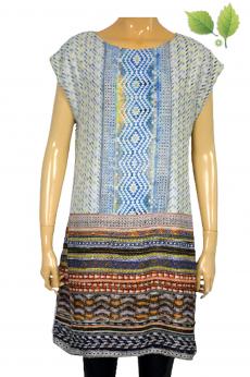 Pudełkowa sukienka midi w azteckie wzory M