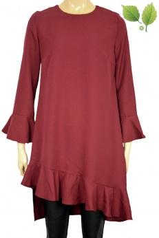 Burgundowa sukienka midi w stylu retro z falbanką M L