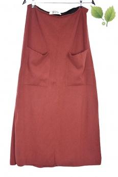 Kaszmirowo wełniana długa spódnica z kieszeniami M L XL