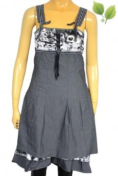 Francuska szara sukienka na szelkach z falbanką S M